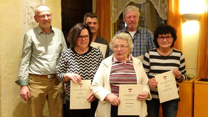 von links nach rechts: Gerd Seiert, Erika Vogel, Rolf Vogel, Erika Harbrecht, Karl Burkart, Brigitte Burkart